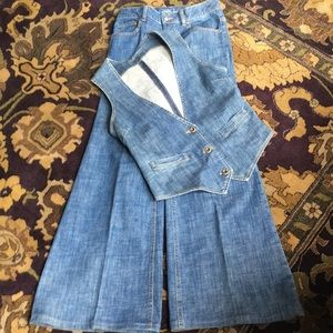LONDON JEAN Retro Vest & Bellbottom Blue Jeans SET